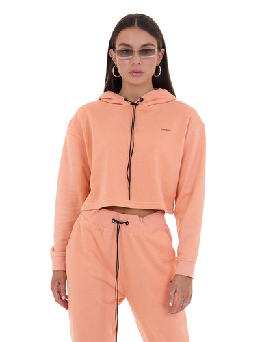 CROPPED 'LIMITED' HOODIE - CORAL