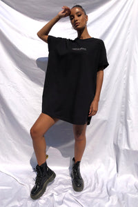 'CIRCLE SMALL' T-SHIRT DRESS - BLACK