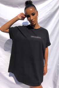 NIGHT ADDICT BLACK 'CIRCLE SMALL' T-SHIRT DRESS FRONT