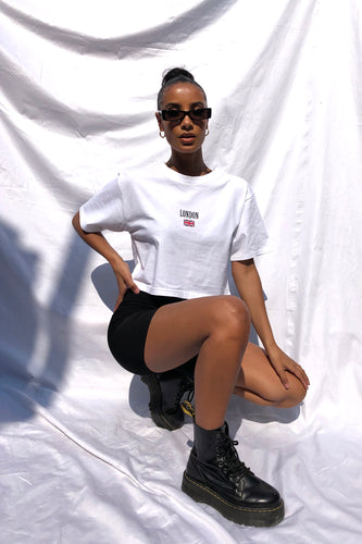CROPPED 'LONDON' TEE - WHITE