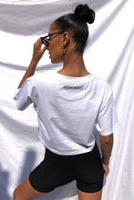 NIGHT ADDICT WOMENS WHITE CROPPED 'LONDON' TEE BACK