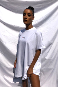 NIGHT ADDICT WHITE 'HERE' T-SHIRT DRESS SIDE