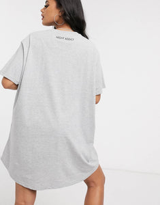 NIGHT ADDICT LADIES GREY 'TRUST THE JOURNEY' T-SHIRT DRESS BACK