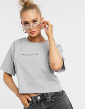 NIGHT ADDICT WOMENS CROPPED 'STAY IN YOUR LANE' TEE FRONT