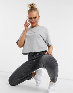 CROPPED 'STAY IN YOUR LANE' TEE - GREY