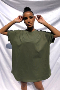 NIGHT ADDICT WOMENS 'OFFLINE' KHAKI T-SHIRT DRESS FRONT