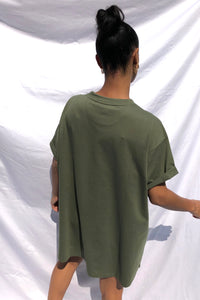 NIGHT ADDICT WOMENS 'OFFLINE' KHAKI T-SHIRT DRESS BACK