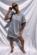NIGHT ADDICT GREY 'I'M NOT HERE FOR YOU' T-SHIRT DRESS FRONT
