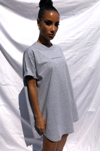 'I'M NOT HERE FOR YOU' T-SHIRT DRESS - GREY