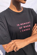 'IN MEMORY OF WHEN I CARED' T-SHIRT DRESS DETAIL