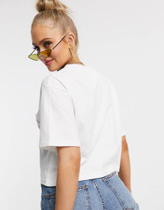NIGHT ADDICT WOMENS WHITE CROPPED LOGO TEE BACK