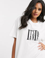 NIGHT ADDICT WHITE 'IT'S A VIBE' T-SHIRT DRESS DETAIL