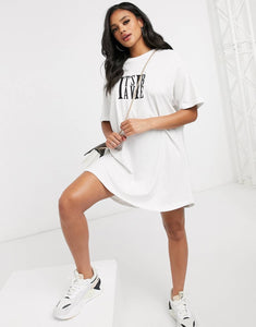 NIGHT ADDICT WHITE 'IT'S A VIBE' T-SHIRT DRESS FRONT