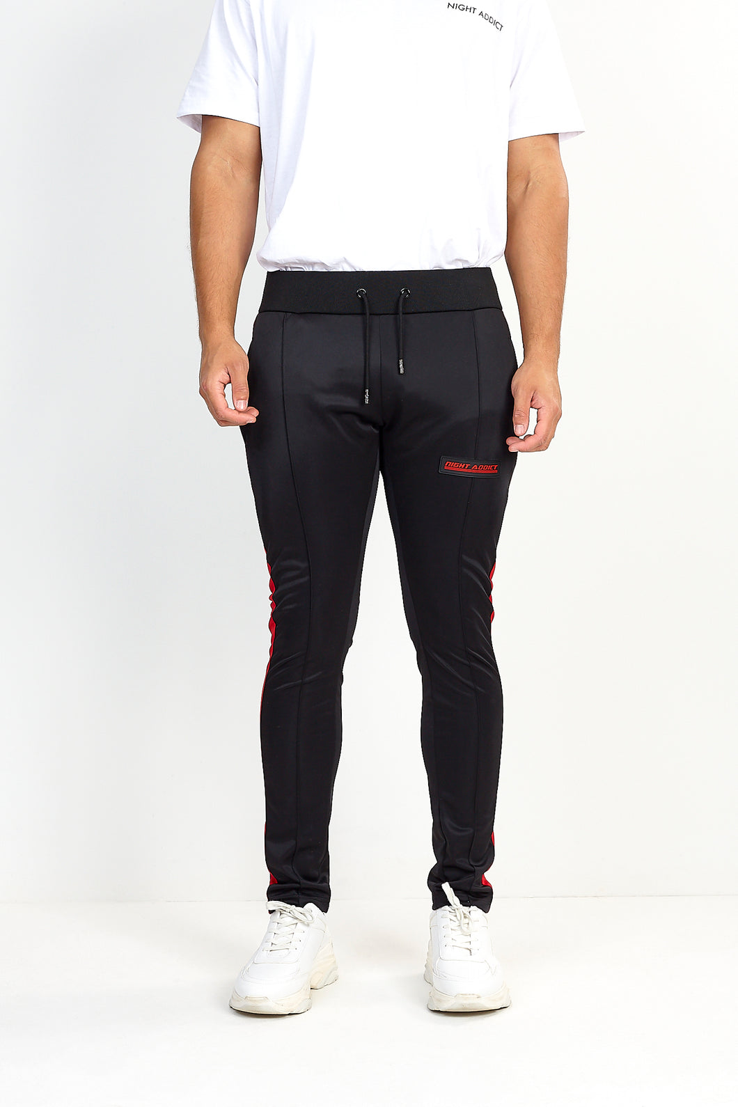 NIGHT ADDICT TECHNICAL TRACK PANTS – BLACK WITH RED