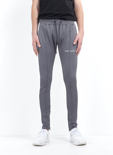TECHNICAL TRACK PANTS - CHARCOAL WITH WHITE