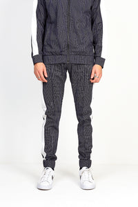 NIGHT ADDICT PINSTRIPE JOGGING BOTTOMS - BLACK