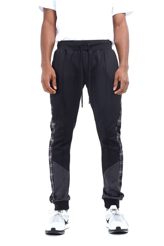 TECHNICAL TRACK PANTS - GREY CHECK PANEL