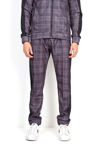 NIGHT ADDICT GREY CHECK PRINT JOGGING BOTTOMS FRONT