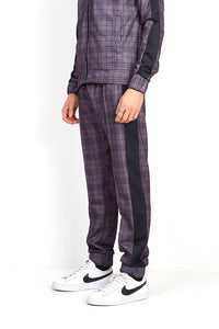 NIGHT ADDICT GREY CHECK PRINT JOGGING BOTTOMS SIDE
