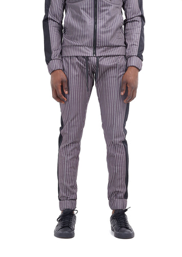 TECHNICAL TRACK PANTS - GREY PINSTRIPE
