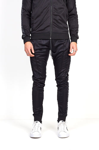 BLACK SIDE TAPE PINTUCK JOGGING BOTTOMS