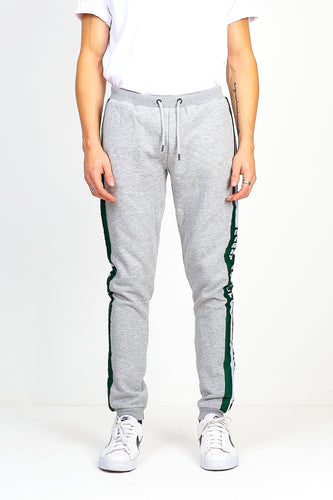 NIGHT ADDICT SIDE TAPE FLEECE BACK JOGGING BOTTOMS - GREY/GREEN