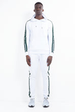 TRACK PANTS - WHITE WITH GREEN