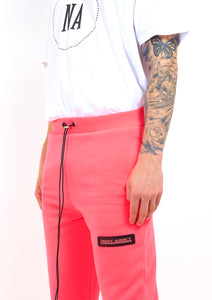NIGHT ADDICT NEON PINK CROPPED JOGGERS DETAIL