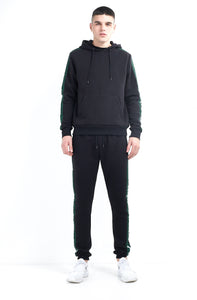 TRACK PANTS - BLACK WITH GREEN