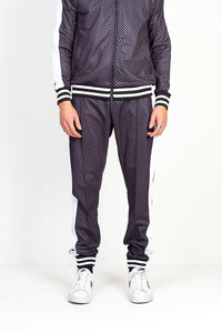 NIGHT ADDICT GREY CHECKERBOARD PRINT JOGGING BOTTOMS FRONT