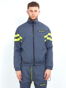NIGHT ADDICT GREY W/NEON NYLON TRACK JACKET FRONT