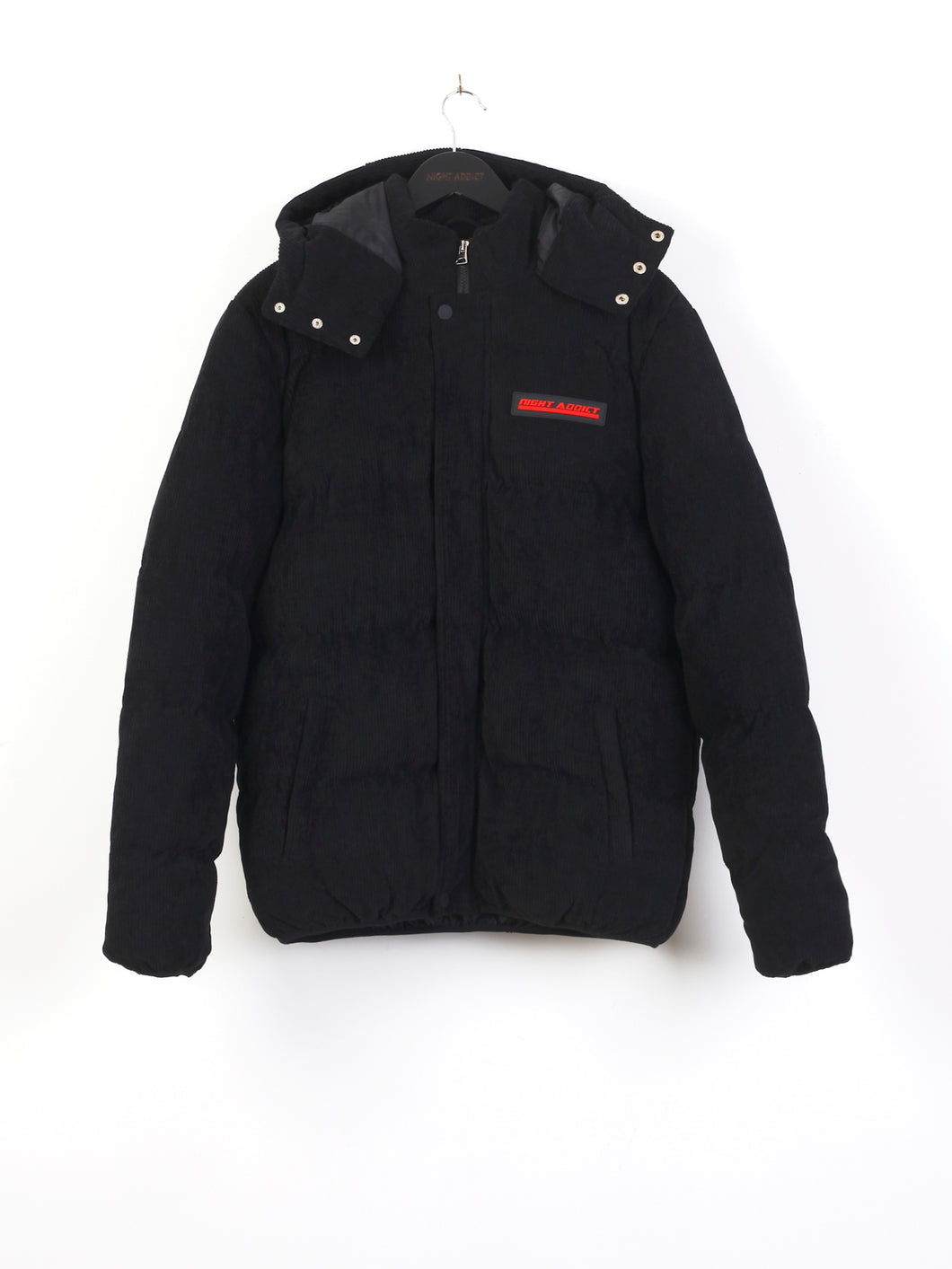 CORD PUFFER JACKET - BLACK