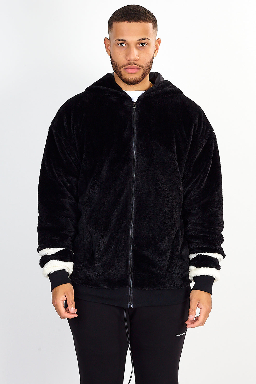 FAUX FUR HOODED JACKET - BLACK