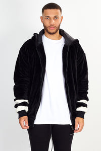 NIGHT ADDICT FAUX FUR HOODED BLACK JACKET FRONT