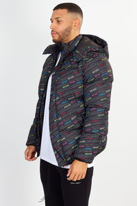 NIGHT ADDICT OVERSIZED PUFFER JACKET – ALL OVER PRINT