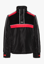 NIGHT ADDICT BLACK AND RED BORG PANEL OVERHEAD JACKET INVISIBLE MANNEQUIN