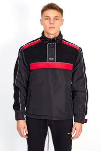 NIGHT ADDICT BLACK AND RED BORG PANEL OVERHEAD JACKET FRONT