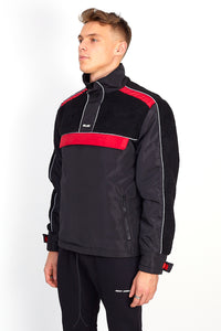 NIGHT ADDICT BLACK AND RED BORG PANEL OVERHEAD JACKET SIDE