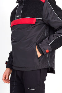 NIGHT ADDICT BLACK AND RED BORG PANEL OVERHEAD JACKET DETAIL