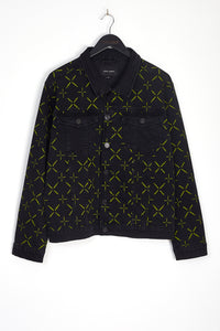 NIGHT ADDICT BLACK WITH NEON DENIM JACKET WITH ALL OVER PRINT FRONT