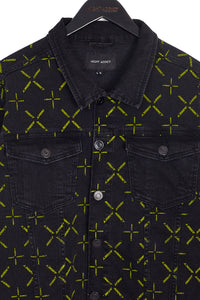 DENIM JACKET WITH ALL OVER PRINT – BLACK W/ NEON
