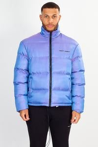 NIGHT ADDICT PURPLE IRIDESCENT PUFFER JACKET FRONT