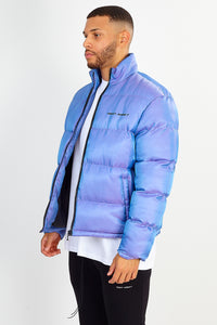 NIGHT ADDICT PURPLE IRIDESCENT PUFFER JACKET SIDE