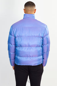 NIGHT ADDICT PURPLE IRIDESCENT PUFFER JACKET BACK