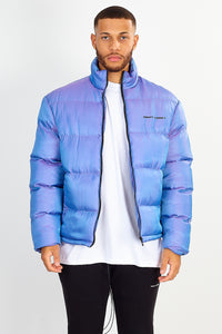 NIGHT ADDICT PURPLE IRIDESCENT PUFFER JACKET FRONT UNZIPPED