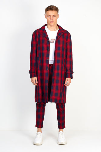 OVERSIZED LONGLINE OVERCOAT – RED CHECK