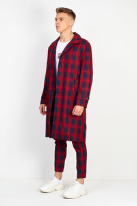 NIGHT ADDICT OVERSIZED LONGLINE OVERCOAT – RED CHECK