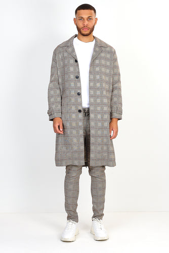OVERSIZED LONGLINE OVERCOAT – TAN CHECK