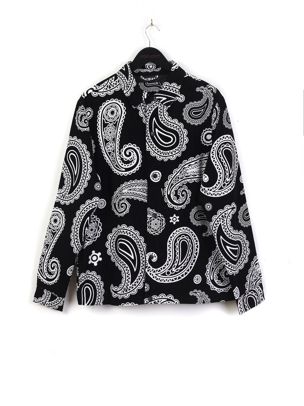 OVERSIZED PAISLEY CORD SHACKET – BLACK