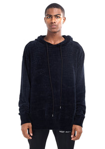 NIGHT ADDICT OVERSIZED CHENILLE HOODIE – BLACK
